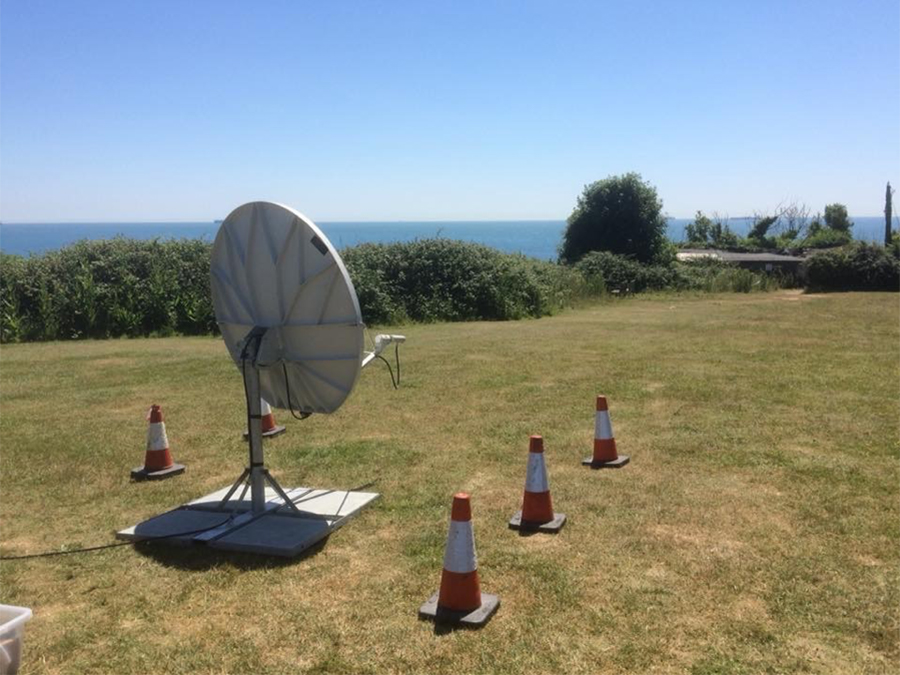 Downlink Dish and Receiver Links Broadcast