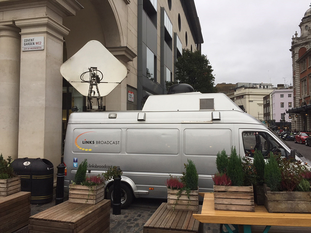 Satellite Truck at Covent Gdn Links Broadcast