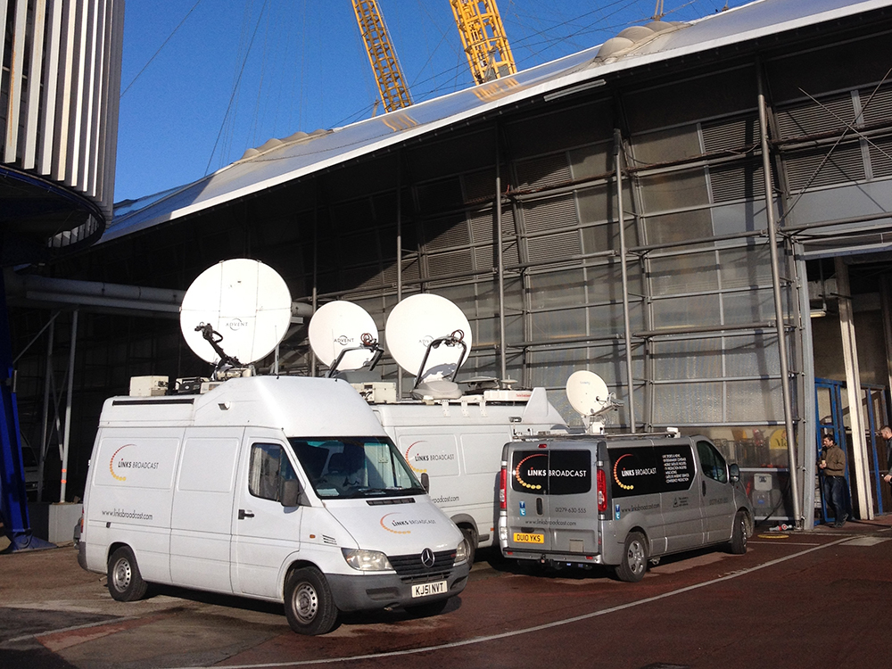 OB Trucks at WWE the 02 Links Broadcast
