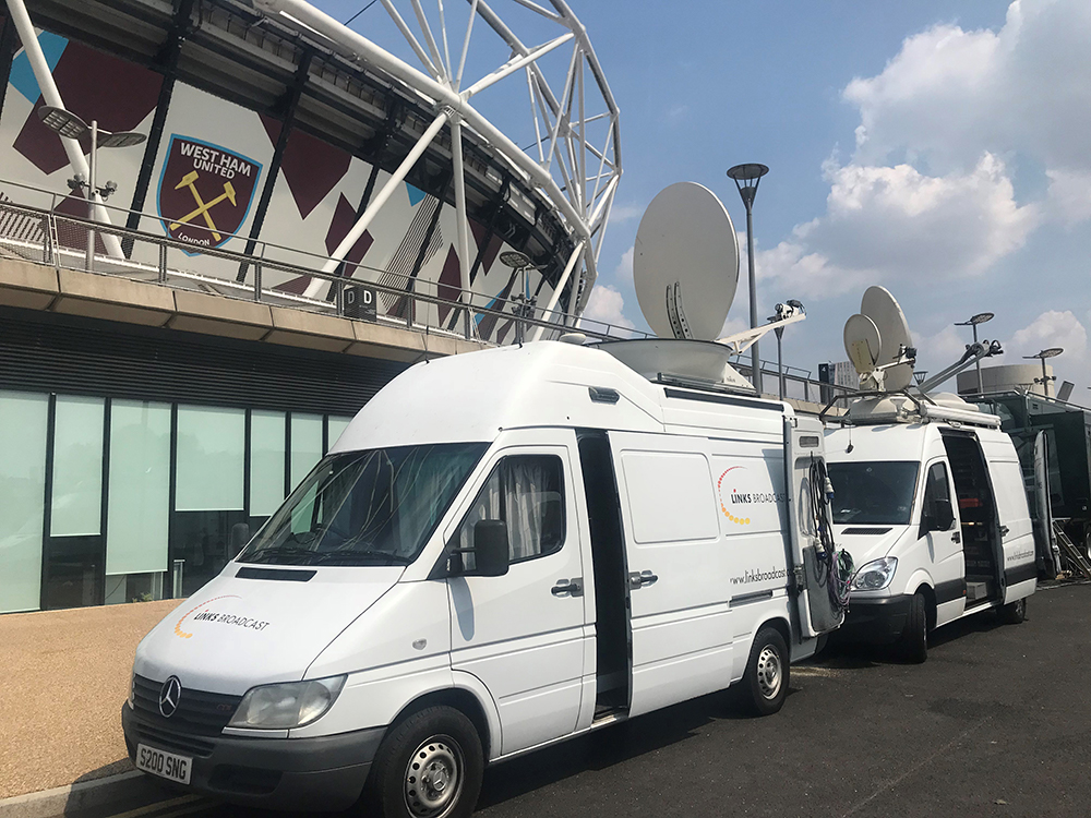 OB Trucks outside West Ham FC Links Broadcast