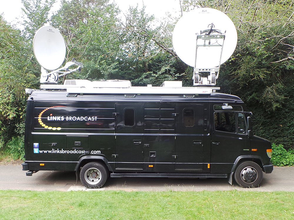 S100 with dishes up Links Broadcast