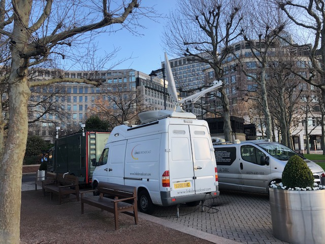 Canary Wharf Satellite Uplink Links Broadcast